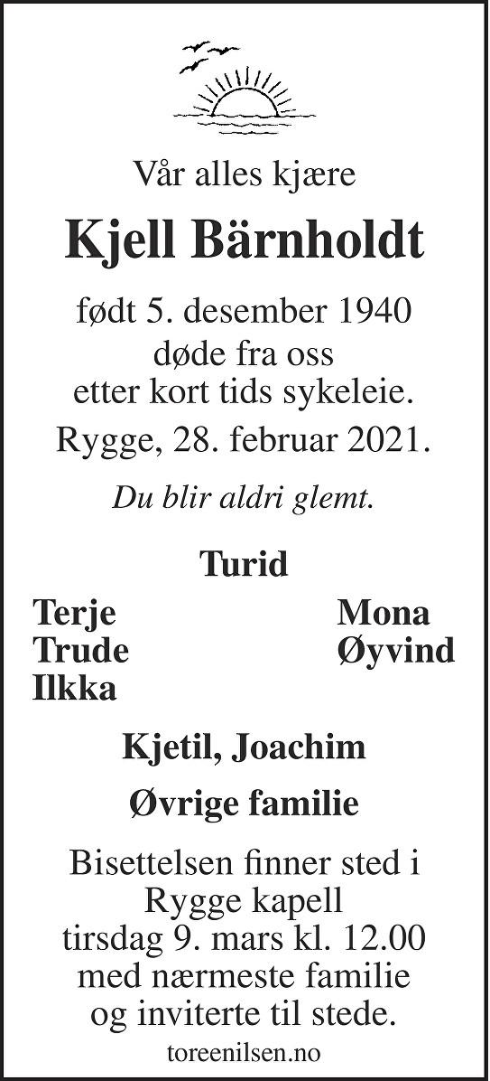 Kjell Bärnholdt Dødsannonse