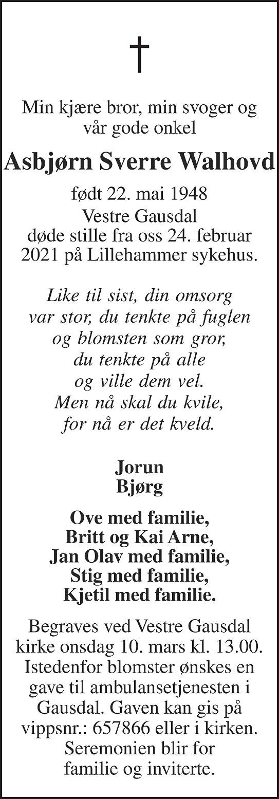 Asbjørn Sverre Walhovd Dødsannonse