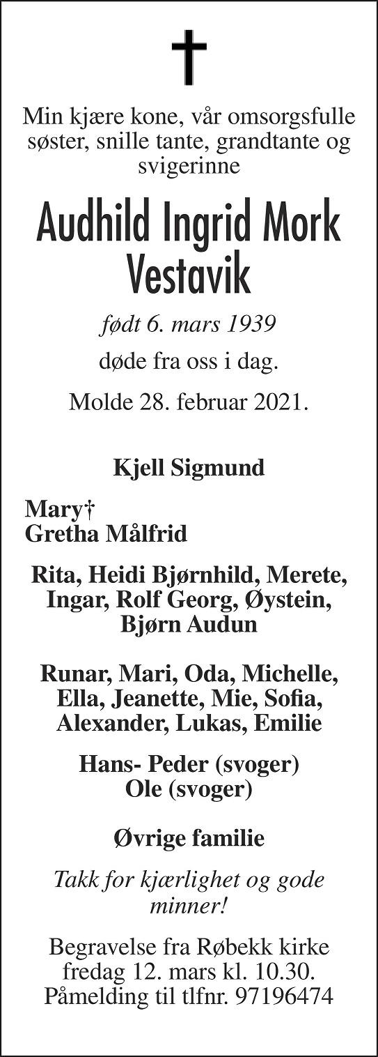 Audhild Ingrid Mork Vestavik Dødsannonse