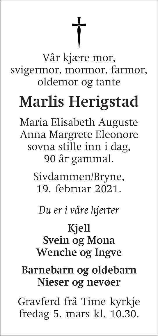 Maria Elisabeth Herigstad Dødsannonse