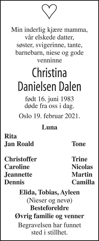 Christina Danielsen  Dalen Dødsannonse