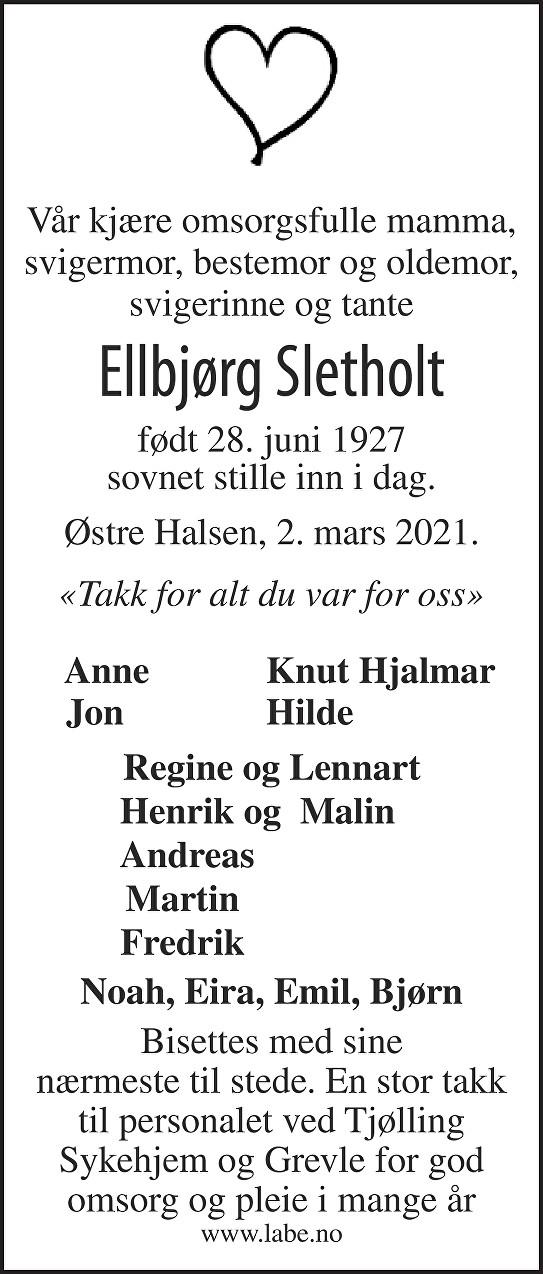 Ellbjørg Sletholt Dødsannonse