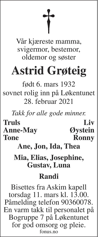 Astrid Grøteig Dødsannonse