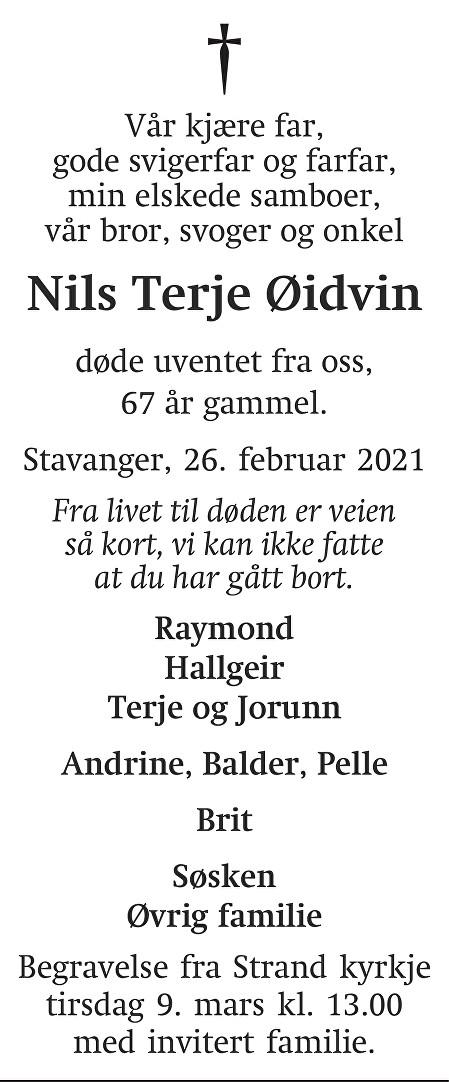 Nils Terje Øidvin Dødsannonse