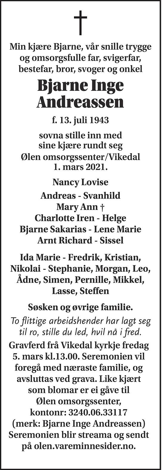 Bjarne Inge Andreassen Dødsannonse