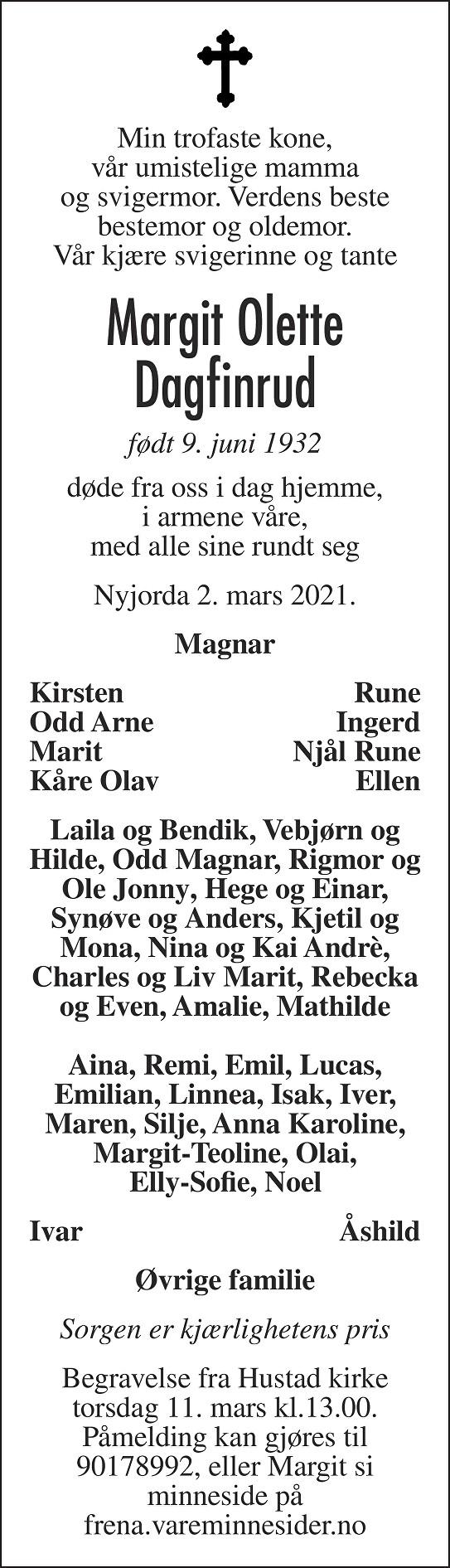 Margit Olette Dagfinrud Dødsannonse