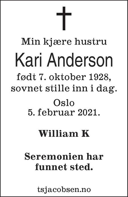 Kari Anderson Dødsannonse