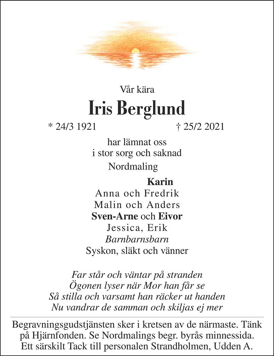 Iris Berglund Death notice
