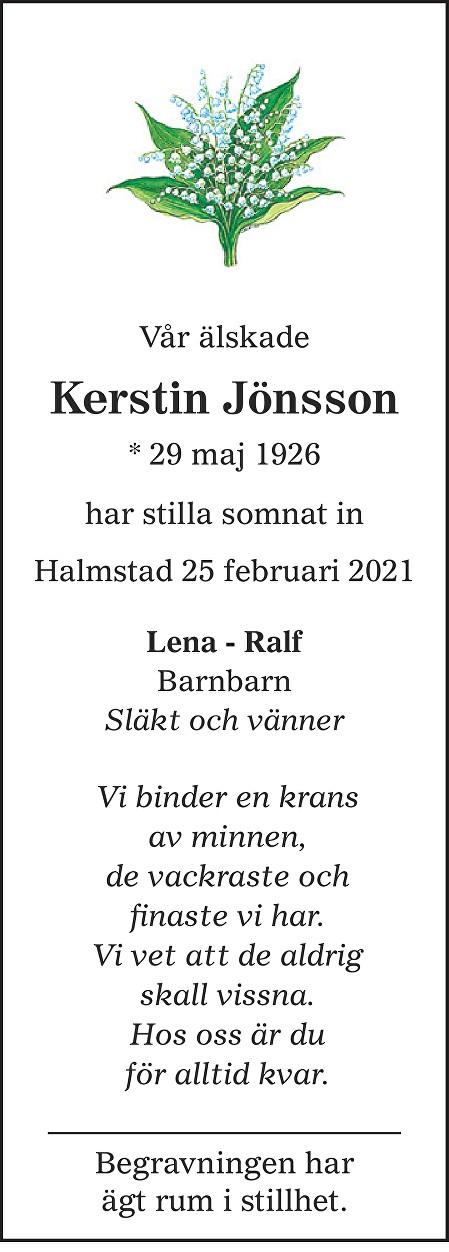 Kerstin Jönsson Death notice