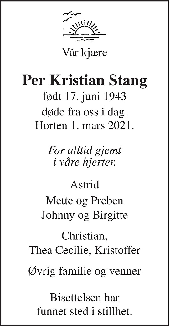 Per Kristian Stang Dødsannonse