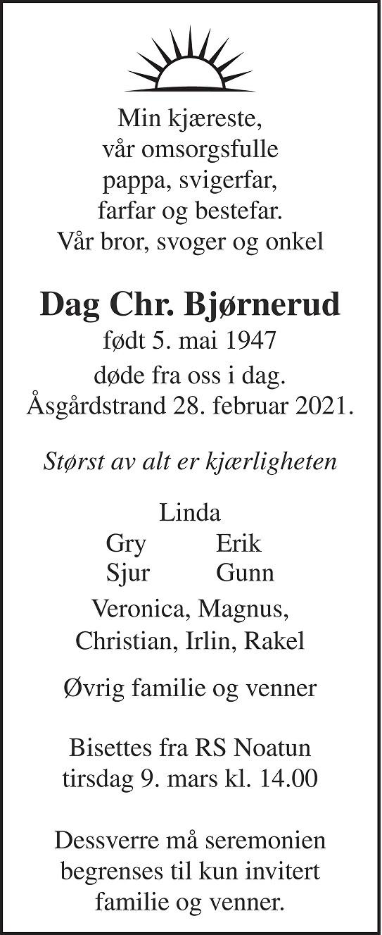 Dag Christian Bjørnerud Dødsannonse