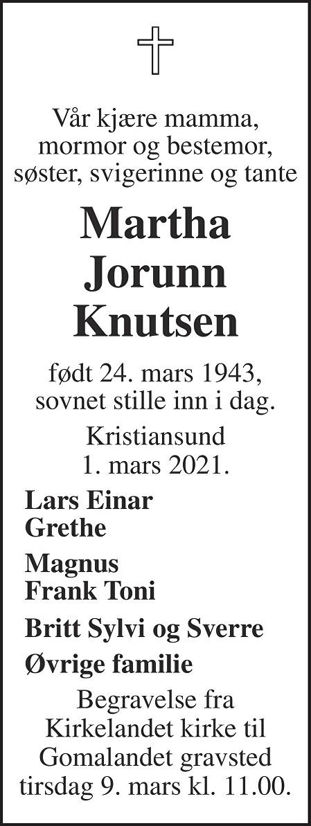 Martha Jorunn Knutsen Dødsannonse