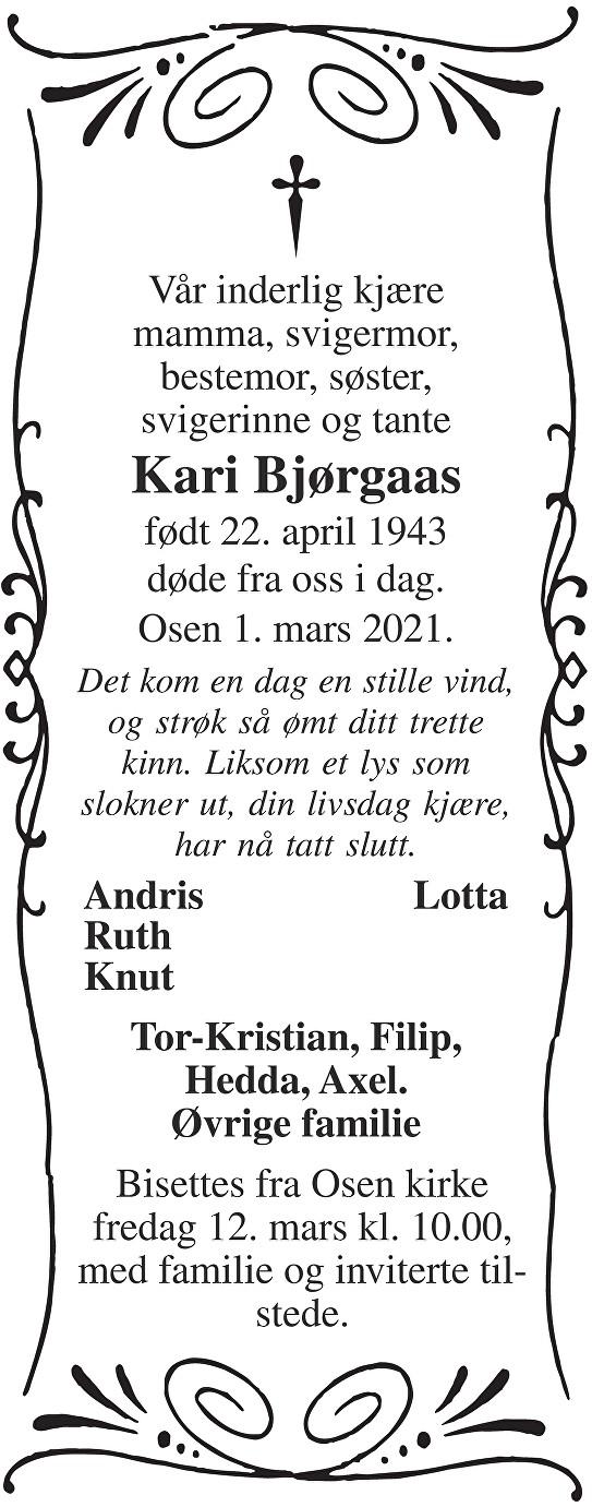 Kari Bjørgaas Dødsannonse