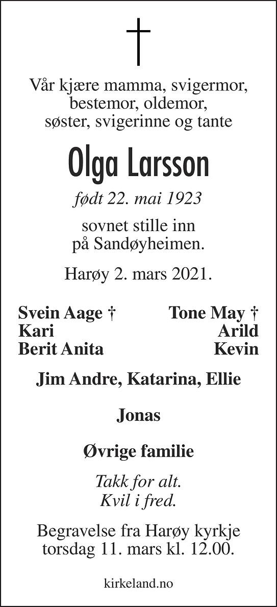 Olga Larsson Dødsannonse