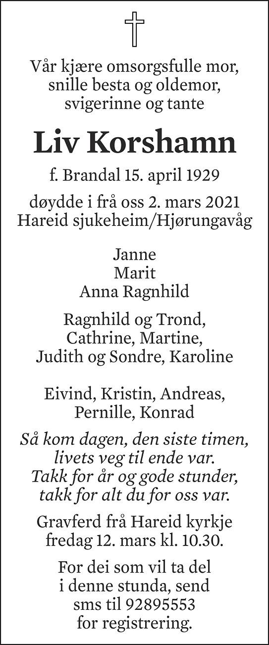 Liv Johanne Korshamn Dødsannonse