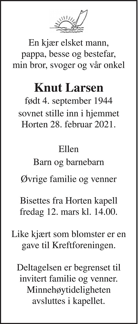 Knut Larsen Dødsannonse