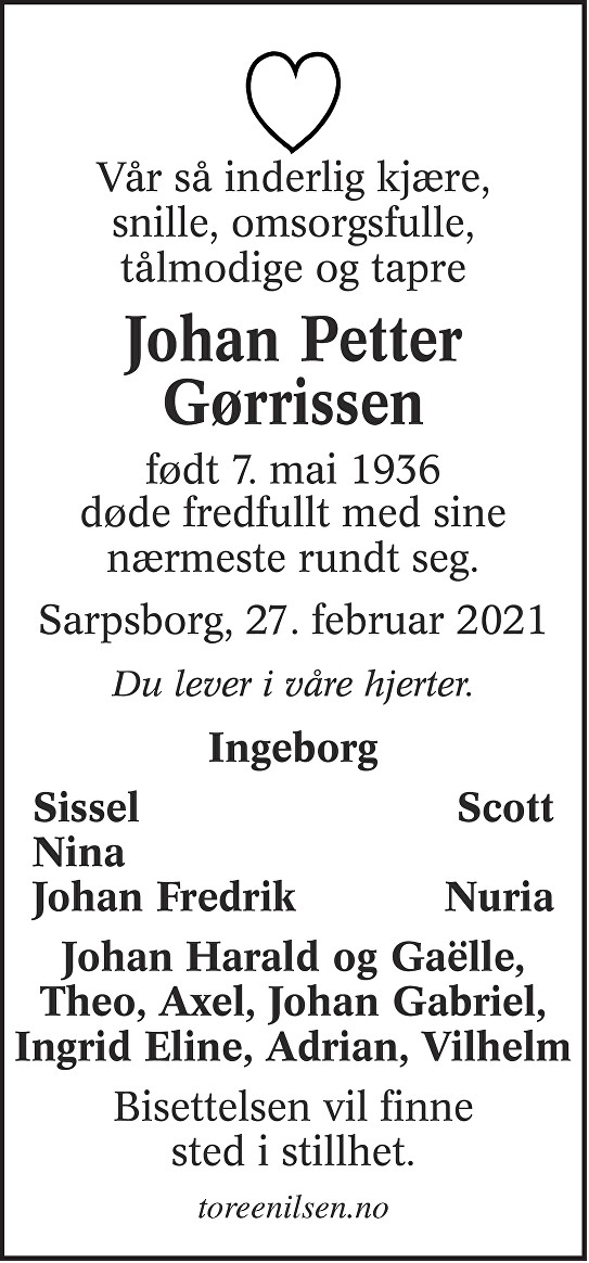 Johan Petter Gørrissen Dødsannonse