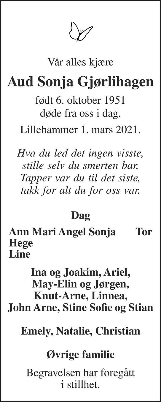 Aud Sonja Gjørlihagen Dødsannonse