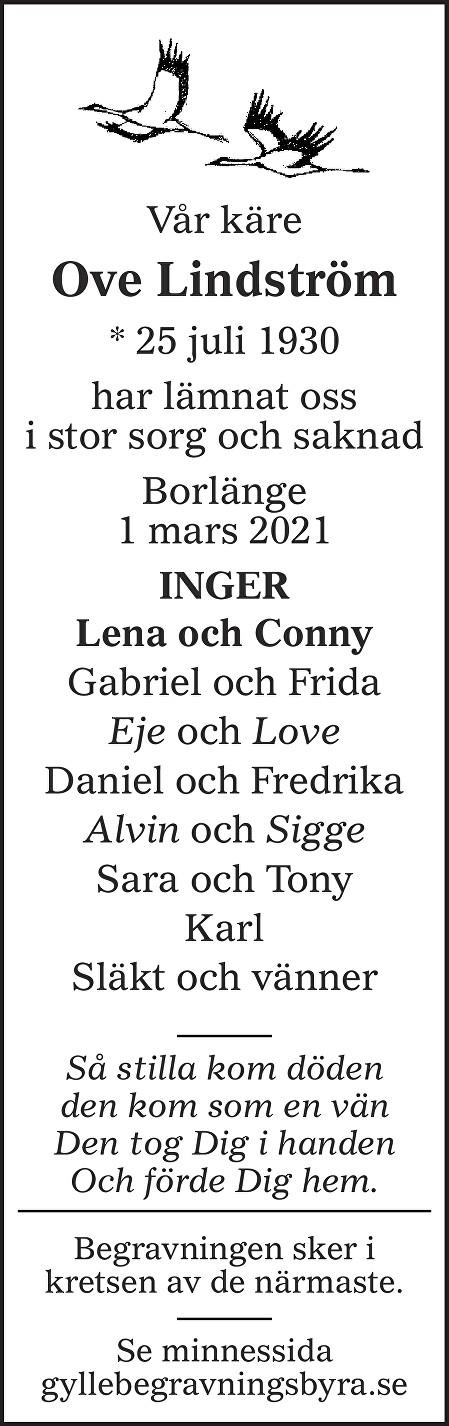 Ove Lindström Death notice