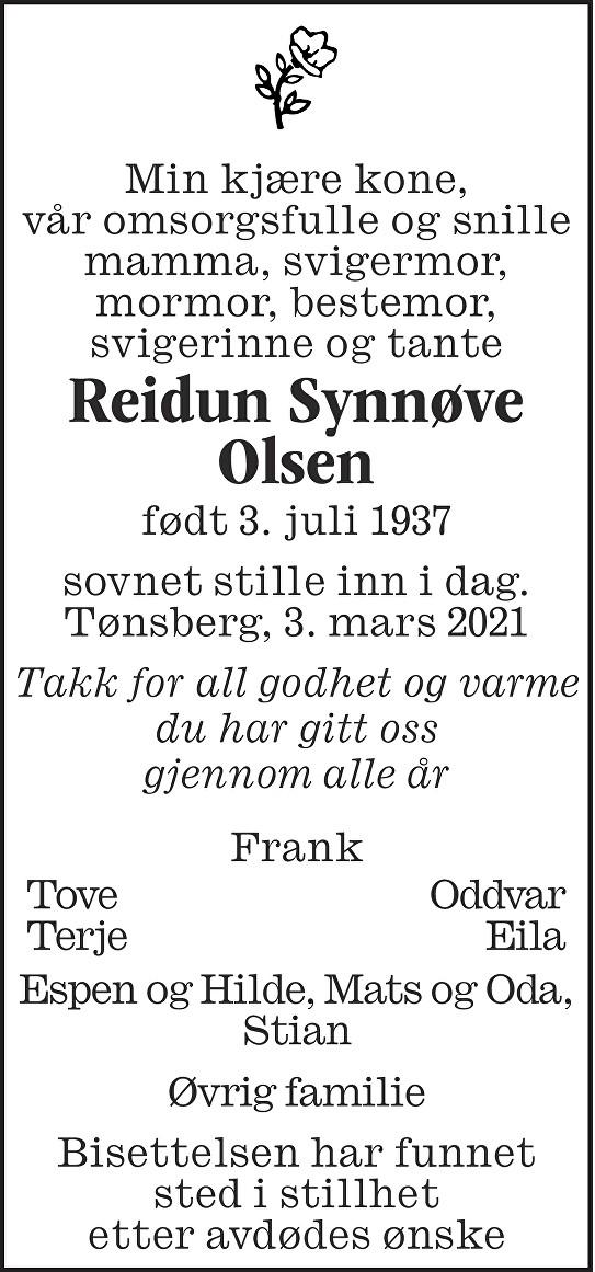 Reidun Synnøve Olsen Dødsannonse