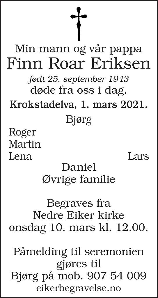 Finn Roar Eriksen Dødsannonse