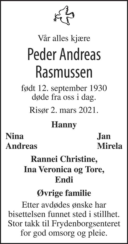 Peder Andreas Rasmussen Dødsannonse