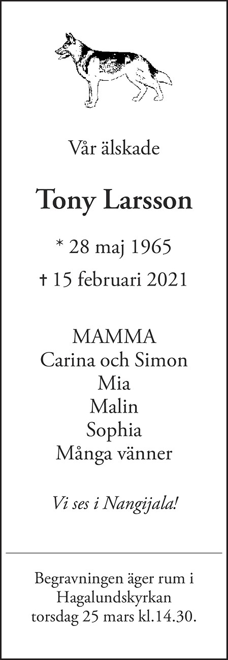 Tony Larsson Death notice
