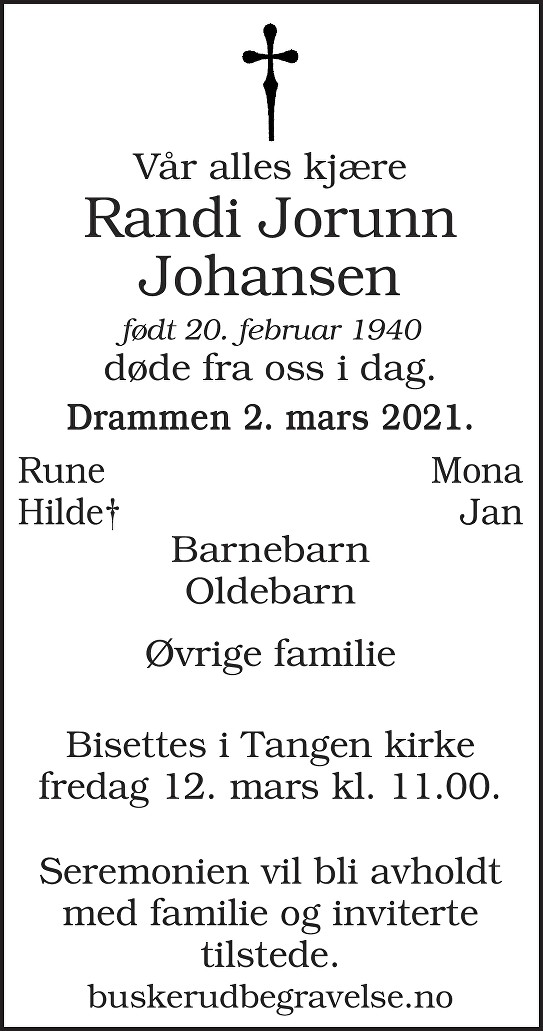 Randi Jorunn Johansen Dødsannonse