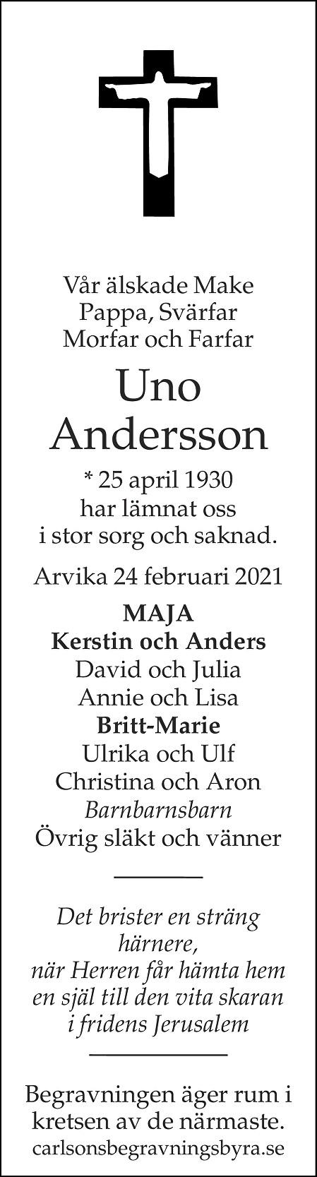 Uno Andersson Death notice