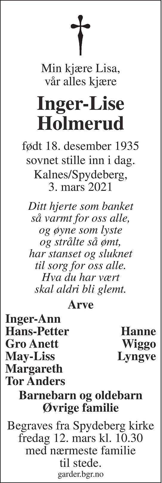 Inger-Lise Holmerud Dødsannonse