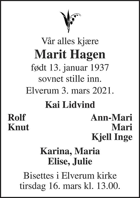 Marit Hagen Dødsannonse