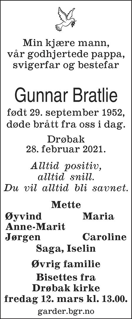 Gunnar Bratlie Dødsannonse