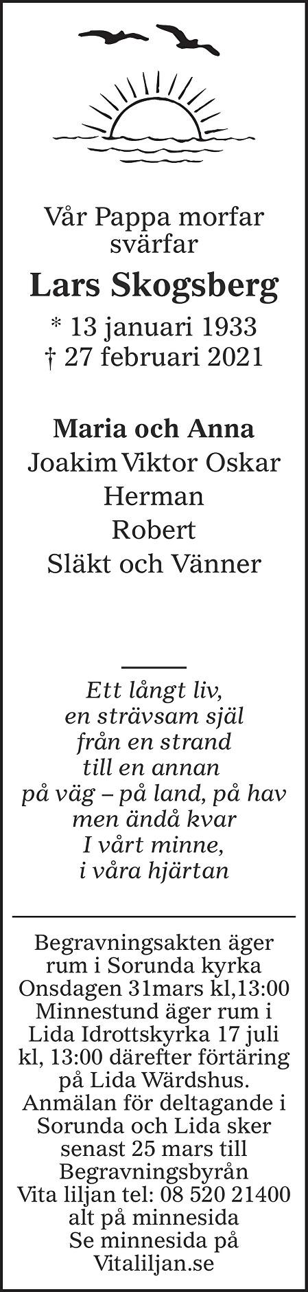 Lars Skogsberg Death notice