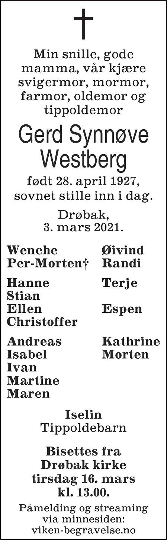 Gerd Synnøve Westberg Dødsannonse