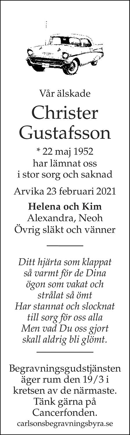 Christer Gustafsson Death notice