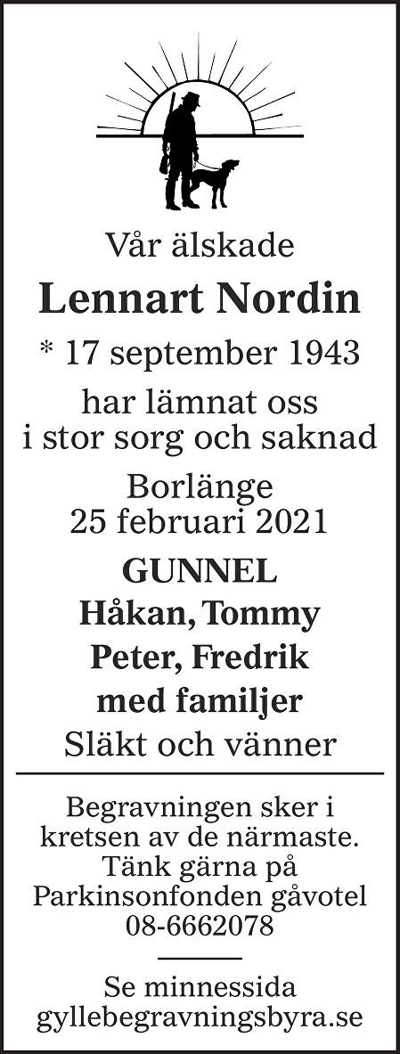 Lennart Nordin Death notice