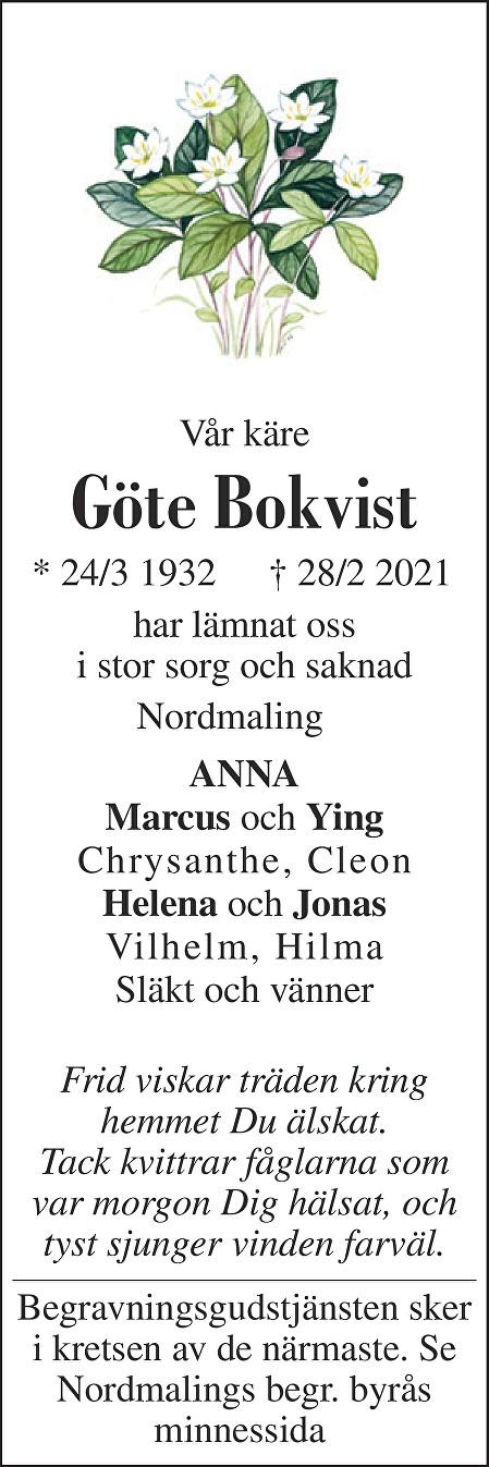 Göte Bokvist Death notice