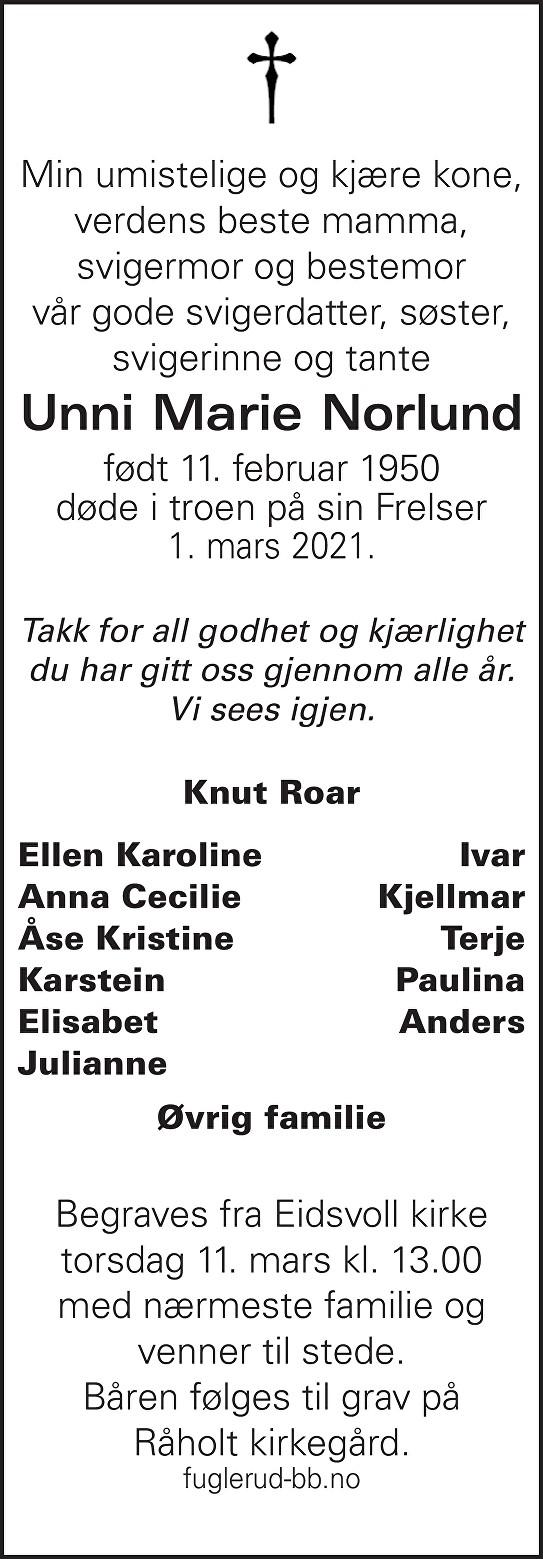 Unni Marie Norlund Dødsannonse