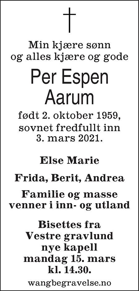 Per Espen Aarum Dødsannonse