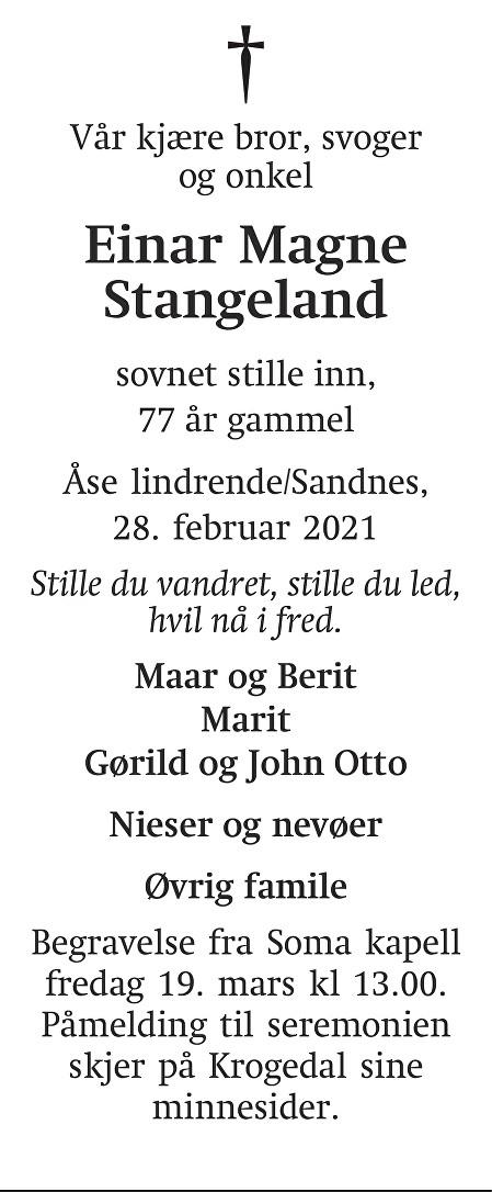 Einar Magne Stangeland Dødsannonse
