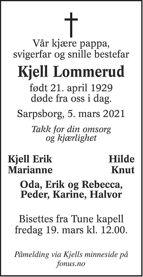 Kjell Lommerud Dødsannonse