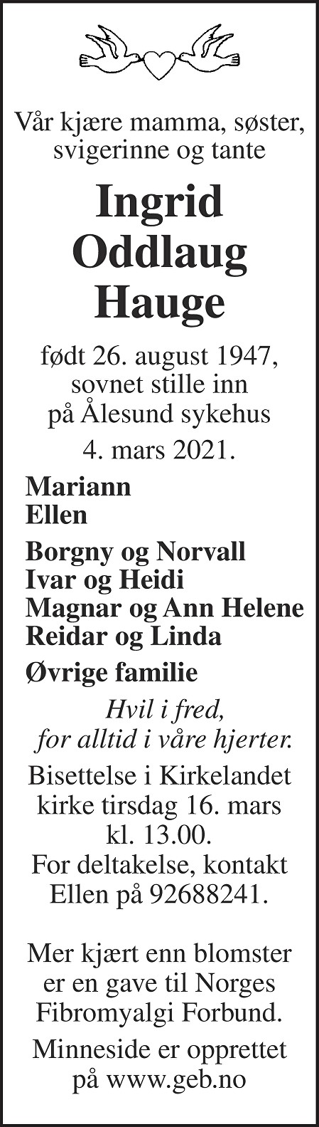 Ingrid Oddlaug Hauge Dødsannonse