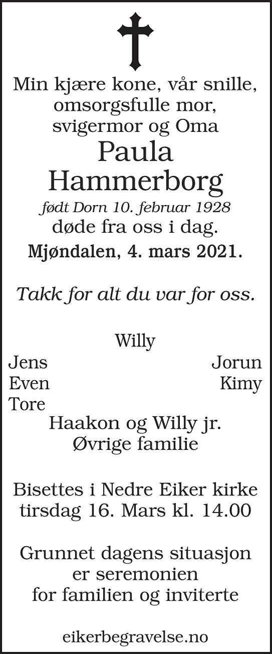 Paulina Hammerborg Dødsannonse