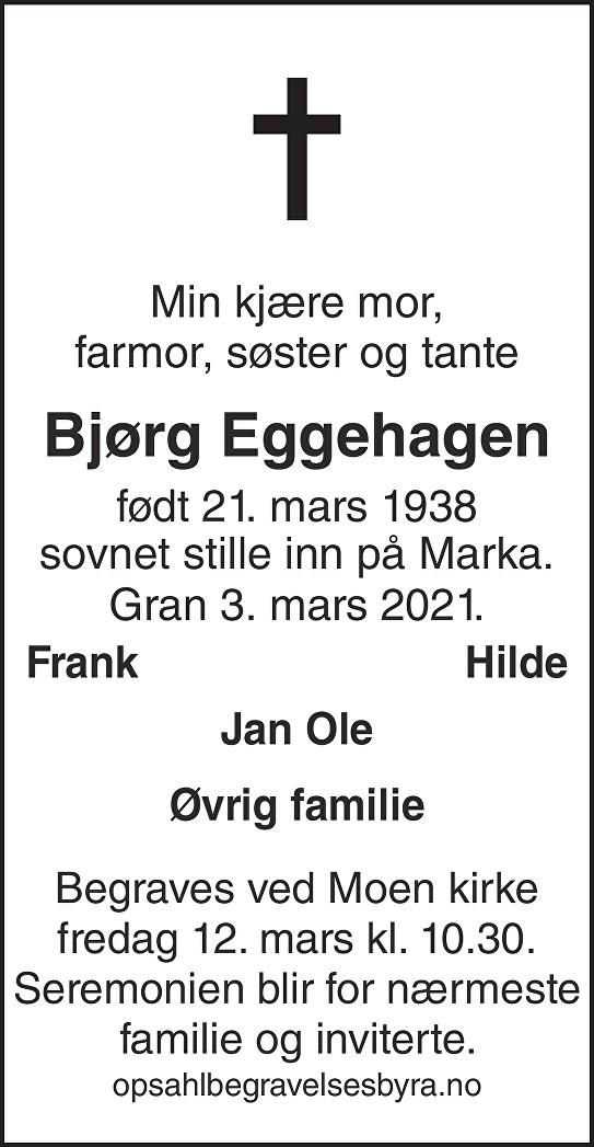 Bjørg Eggehagen Dødsannonse