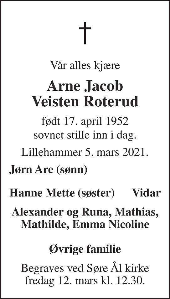 Arne Jacob Veisten Roterud Dødsannonse