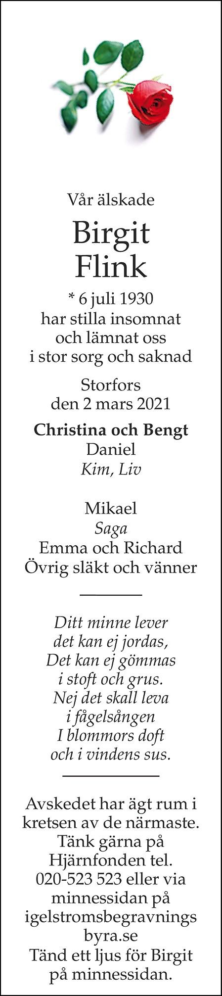 Birgit Flink Death notice