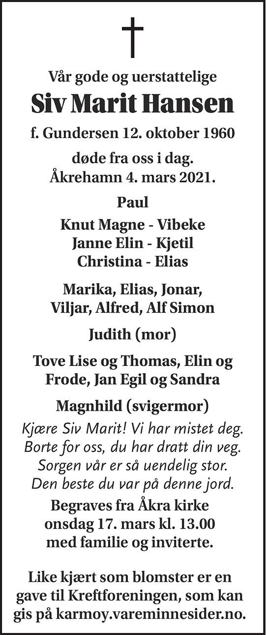 Siv Marit Hansen Dødsannonse