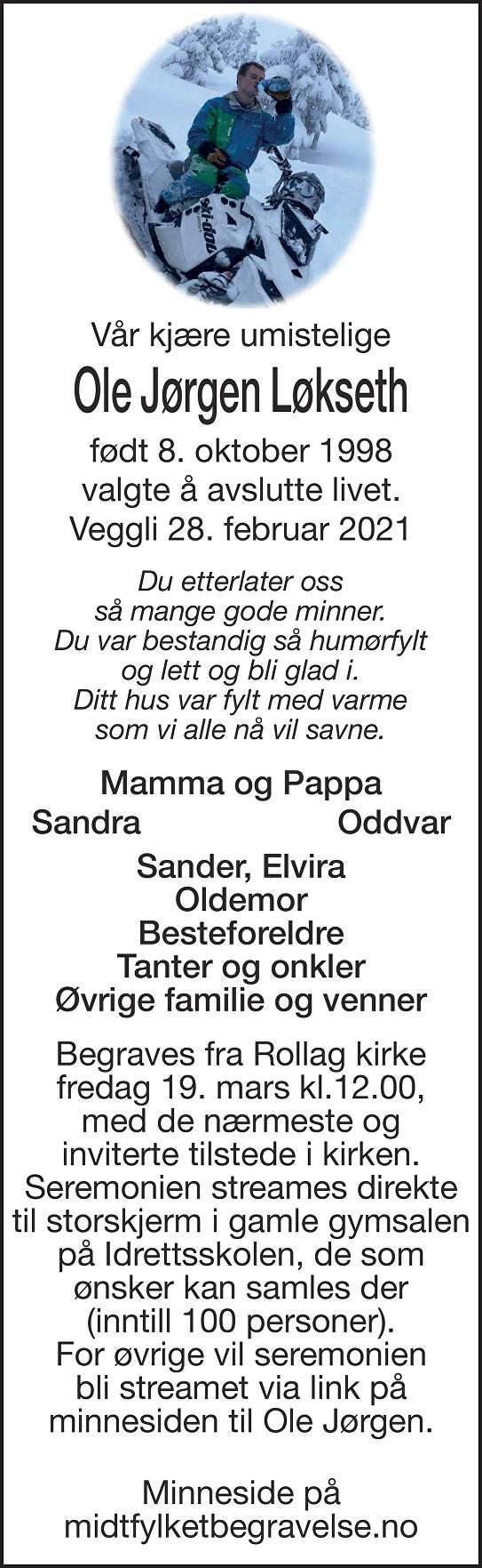 Ole Jørgen Løkseth Dødsannonse
