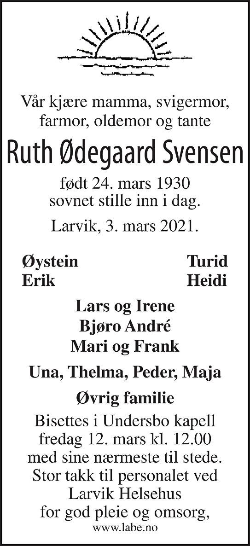 Ruth Ødegaard Svensen Dødsannonse