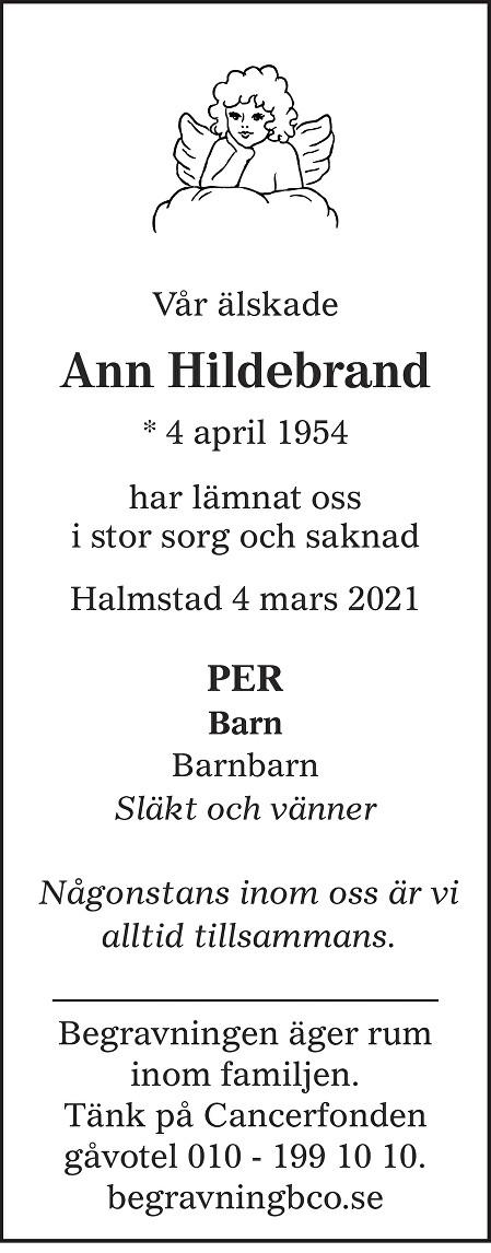 Ann Hildebrand Death notice